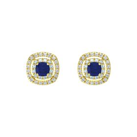 Cushion Blue Sapphire 14K Yellow Gold Earring with Aquamarine and Diamond