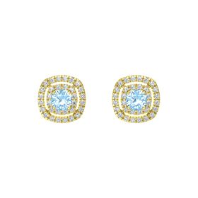 Cushion Blue Topaz 14K Yellow Gold Earring with Diamond