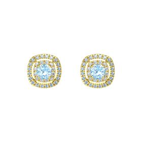 Cushion Blue Topaz 14K Yellow Gold Earring with Diamond and Blue Topaz