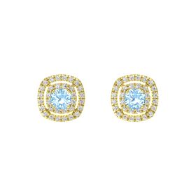 Cushion Blue Topaz 14K Yellow Gold Earring with White Sapphire
