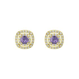 Cushion Iolite 14K Yellow Gold Earrings with Diamond