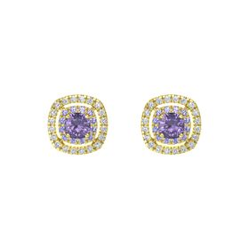 Cushion Iolite 14K Yellow Gold Earring with Iolite and Diamond
