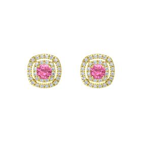 Cushion Pink Tourmaline 14K Yellow Gold Earring with Diamond