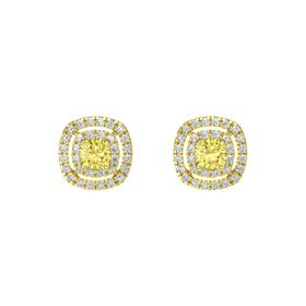 Cushion Yellow Sapphire 14K Yellow Gold Earring with Diamond
