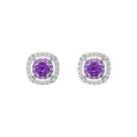 Cushion Amethyst Sterling Silver Earring with Amethyst and White Sapphire