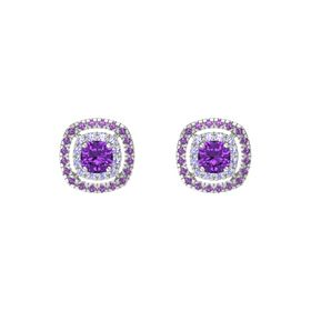 Cushion Amethyst Sterling Silver Earrings with Tanzanite & Amethyst