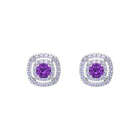 Cushion Amethyst Sterling Silver Earrings with Tanzanite