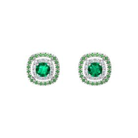 Cushion Emerald Sterling Silver Earrings with Diamond & Emerald