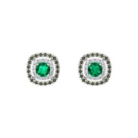 Cushion Emerald Sterling Silver Earring with Diamond and Green Tourmaline