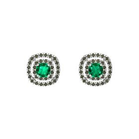 Cushion Emerald Sterling Silver Earring with Green Tourmaline