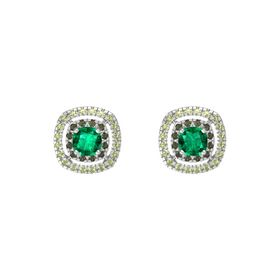 Cushion Emerald Sterling Silver Earrings with Green Tourmaline & Peridot
