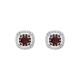 Cushion Red Garnet Sterling Silver Earring with Red Garnet and Diamond