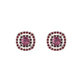 Cushion Rhodolite Garnet Sterling Silver Earring with Red Garnet and Ruby