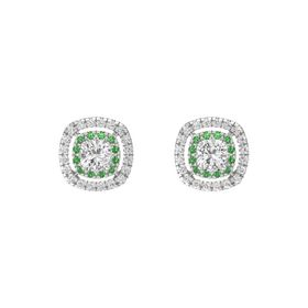 Cushion White Sapphire Sterling Silver Earring with Emerald and White Sapphire