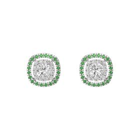 Cushion White Sapphire Sterling Silver Earring with White Sapphire and Emerald