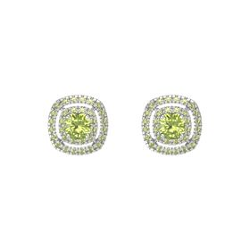 Cushion Peridot Sterling Silver Earring with Peridot