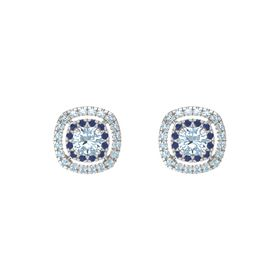 Cushion Aquamarine Sterling Silver Earrings with Sapphire & Aquamarine