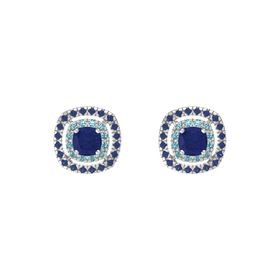 Cushion Blue Sapphire Sterling Silver Earring with London Blue Topaz and Blue Sapphire