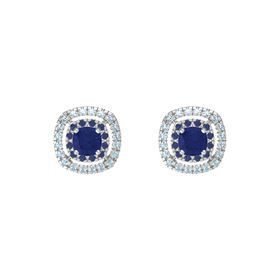 Cushion Blue Sapphire Sterling Silver Earring with Blue Sapphire and Aquamarine