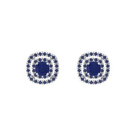 Cushion Blue Sapphire Sterling Silver Earring with Blue Sapphire