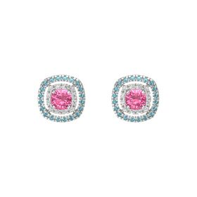 Cushion Pink Tourmaline Sterling Silver Earring with White Sapphire and London Blue Topaz