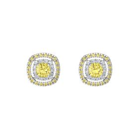 Cushion Yellow Sapphire Sterling Silver Earring with Diamond and Yellow Sapphire