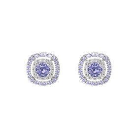 Cushion Tanzanite Sterling Silver Earring with White Sapphire and Tanzanite