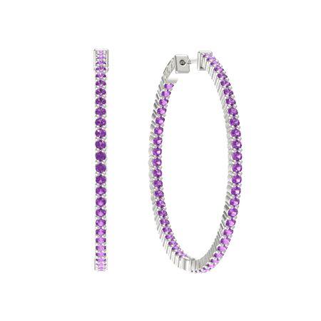 Inside Out Large Hoop Earrings 2mm Gems
