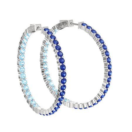 Inside Out Large Hoop Earrings 3mm Gems