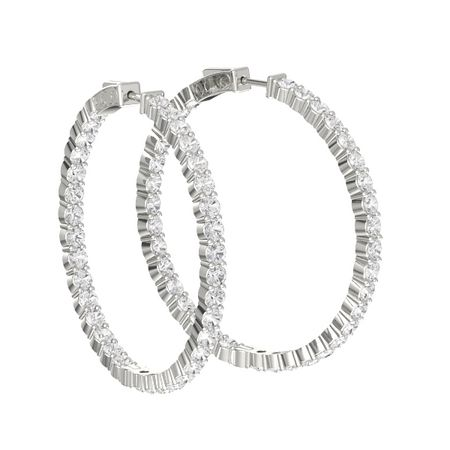 Inside Out Large Hoop Earrings 3mm Gems 14k White Gold Earring With Shire