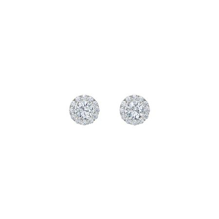 Round-Cut Halo Earrings (4mm gems)