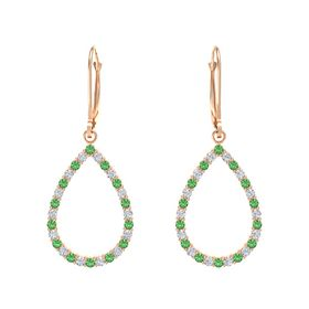14K Rose Gold Earrings with Emerald & Diamond