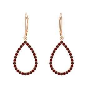 14K Rose Gold Earrings with Red Garnet & Ruby