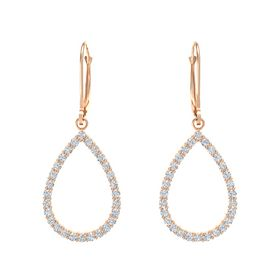 14K Rose Gold Earrings with White Sapphire & Diamond