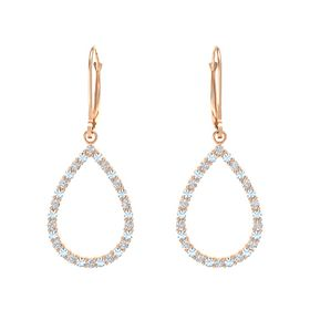 14K Rose Gold Earring with White Sapphire and Aquamarine