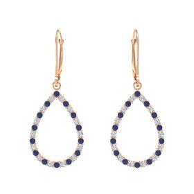 14K Rose Gold Earrings with Sapphire & Diamond