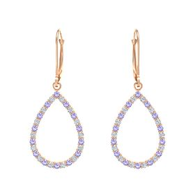 14K Rose Gold Earring with Iolite and Diamond