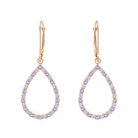 14K Rose Gold Earring with Iolite and White Sapphire