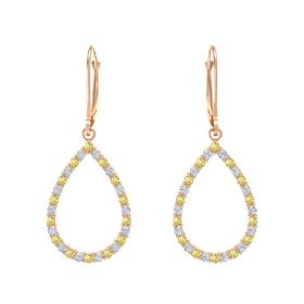 14K Rose Gold Earring with Yellow Sapphire and Diamond