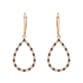 14K Rose Gold Earrings with Smoky Quartz & Diamond
