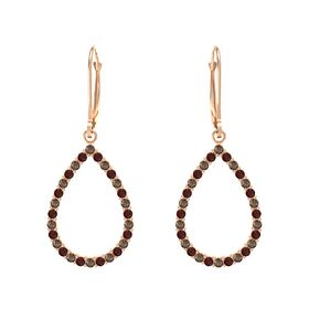 14K Rose Gold Earring with Smoky Quartz and Red Garnet