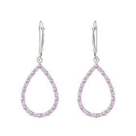 14K White Gold Earring with Pink Sapphire and Diamond