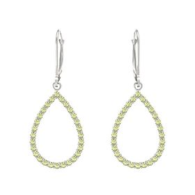 14K White Gold Earrings with Peridot