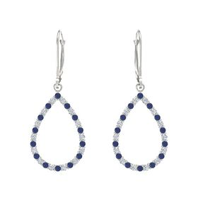 14K White Gold Earring with Blue Sapphire and Diamond