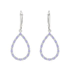 14K White Gold Earrings with Iolite & Diamond