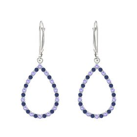 14K White Gold Earring with Iolite and Blue Sapphire
