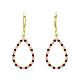 14K Yellow Gold Earring with White Sapphire and Ruby