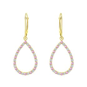 14K Yellow Gold Earring with Pink Sapphire and Diamond