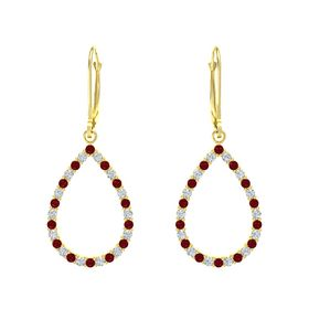 14K Yellow Gold Earrings with Ruby & Diamond