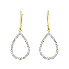 14K Yellow Gold Earring with Iolite and Diamond